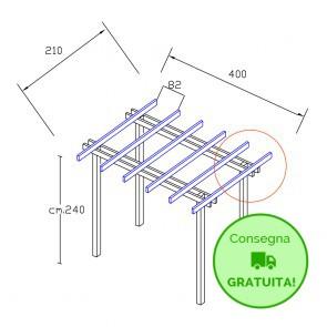 Onlywood Pergola  BASIC autoportante 2,1 x 4 legno classe 3 - portata 50 Kg - ANCHE SU MISURA