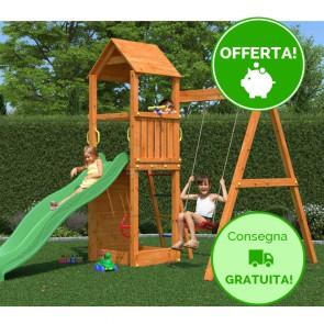 Parco Giochi Fungoo Flippi in legno con Altalena e Scivolo - 370 x 213 x h 272 cm