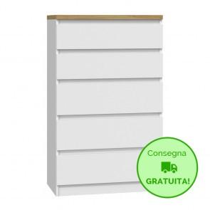 Settimino per camera da letto MALWA - 70 x 40 x 113h cm - Bianco - 5 cassetti - Ripiano in Rovere