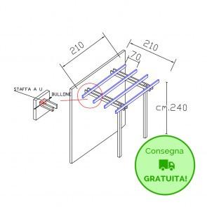 Pergola BASIC addossata 210x210 legno classe 4 - portata 50 Kg - ANCHE SU MISURA