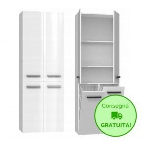 Mobile lavanderia componibile MARIO con 2 Cestelli per biancheria - 60 x 30 x 174h cm - Bianco laccato
