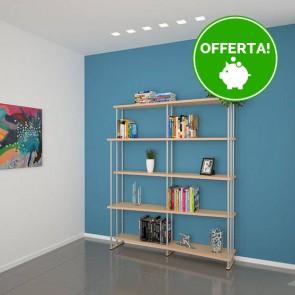 Libreria componibile in legno SMILE - 150 x 35/22 x 190h cm - finitura Acero