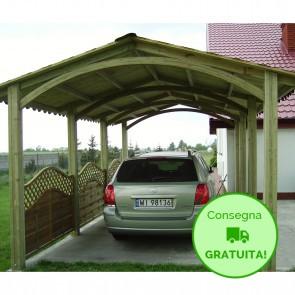 CARPORT DOPPIO ALASKA in legno di abete con tetto 379 x 614 x 291 cm