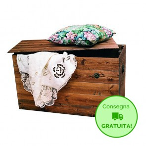 Cassapanca in legno da interno TANIA - 120 x 45 x 45h cm - Legno verniciato Noce