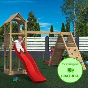 Parco Giochi in legno di pino Fungoo Fleppi - 390 x 410 x 274h cm