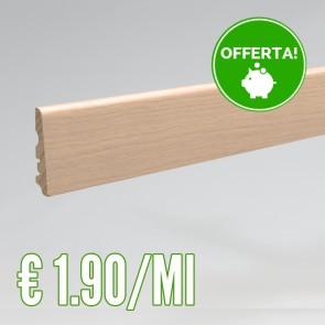 Battiscopa legno impiallacciato  ROVERE 70 h. mm - Asta 2,40 metri