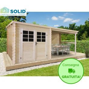 Casetta in legno SLO 518 x 238 x 206 spessore 28 con pergolato
