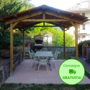 Onlywood Gazebo TIP 4 x 4 tetto in legno antivento - impregnato - personalizzabile