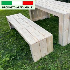 Onlywood Panca in legno da esterno MADRID - legno di Abete Massello Naturale 180 x 44 x 43 h cm