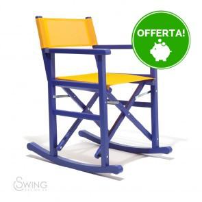 Sedia a Dondolo in Legno laccato - Montezuma Blu e Giallo