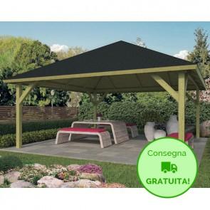 KIOSK Gazebo tetto legno + tegole 550x550 montanti 12x12