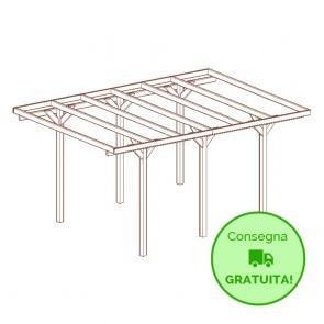 Carport -tettoia per auto 304 x 520 cm in legno impregnato classe 3