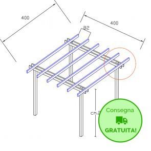 Pergola  BASIC autoportante 4 x 4 legno classe 3 - portata 50 Kg - ANCHE SU MISURA
