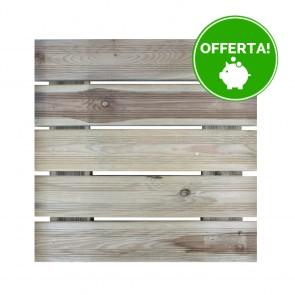 Onlywood Piastrella zigrinata 50x50 in Legno Impregnato in Autoclave - Pavimento da esterno - Spessore 3,8 cm Extra Resistenza