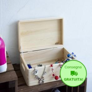 Scatola in legno con coperchio - 40 x 30 x 23h cm