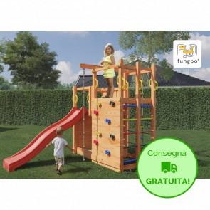 Parco Giochi in legno Fungoo con doppia Parete da Arrampicata e Scivolo - 386 x 195 x 225h cm