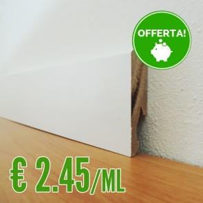 BATTISCOPA MDF BIANCO 14 x 60 mm. asta 2,40 metri