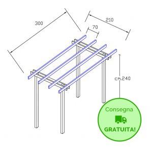 Onlywood Pergola  BASIC autoportante 3 x 2,1 legno classe 3 - portata 50 Kg - ANCHE SU MISURA