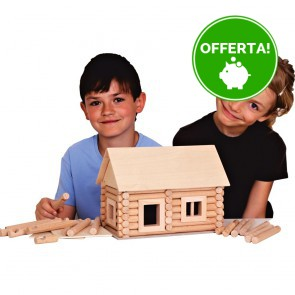 GIOCO COSTRUZIONE per bambini in legno CASE COMPONIBILI con valigetta- 8 Composizioni diverse