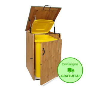 PORTA BIDONE per rifiuti in legno trattato 74 x 86 x 116 cm - Portata max 240 litri