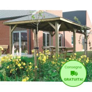 KIOSK Gazebo tetto legno + tegole 449x347 montanti 12x12