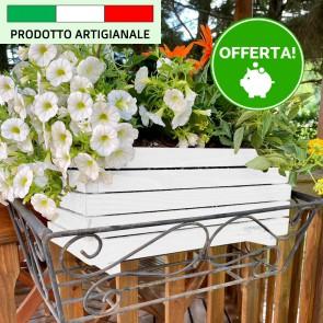 Onlywood Fioriera MARGHERITA in Legno verniciate Bianco Made in italy - 3 Dimensioni