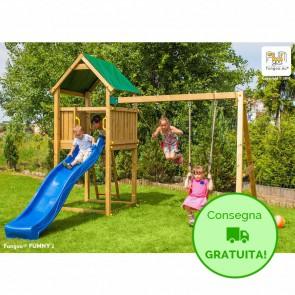 Parco Giochi in legno di pino Fungoo FUNNY 2 - 317 x 329 x 265h cm