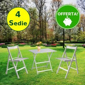 Set tavolo e sedie da giardino in legno di faggio color Bianco - 4 sedie