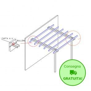 Pergola  BASIC addossata 400x400 legno classe 4 - portata 50 Kg - ANCHE SU MISURA