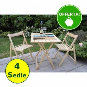 Set tavolo e sedie da giardino in legno Naturale di faggio - 4 sedie