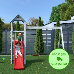 Parco Giochi in legno Fungoo Flappi Grigio e Bianco - 370 x 303 x h 272 cm con Altalene e Scivolo