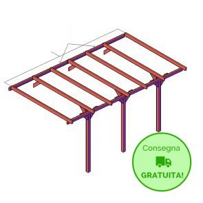Onlywood ESTENSIONE per Carport - tettoia per auto 2,7 x 5,2 metri in legno impregnato classe 3